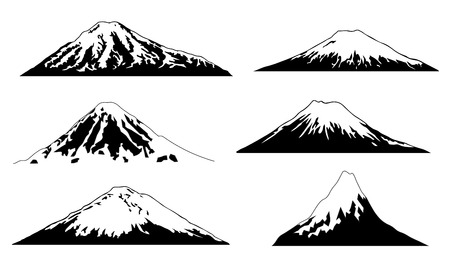volcano advanced on the white background Çizim