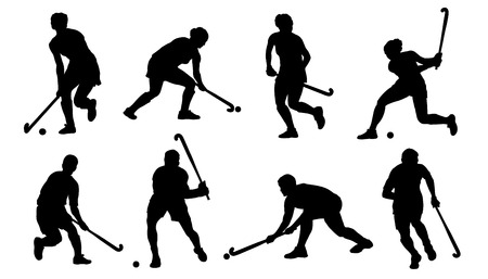 field hockey silhouettes on the white background Ilustração