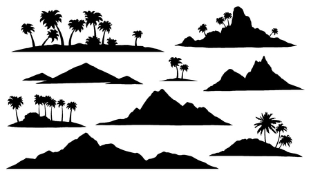 isle: island silhouettes on the white background Illustration