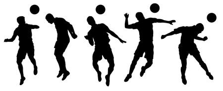pelota de futbol: siluetas de cabecera de fútbol en el fondo blanco