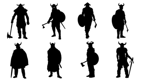 viking silhouettes on the white background