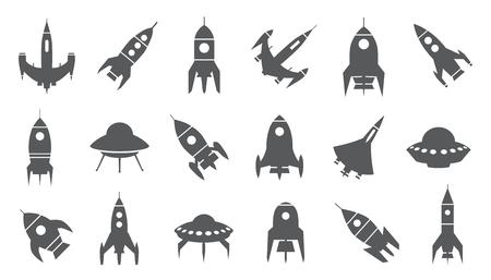 spaceship grey on the white background Ilustração
