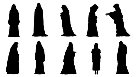 ghosts silhouettes on the white background Illustration
