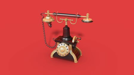 Vintage telephone. Retro old phone isolated on red background. 3d illustration Foto de archivo - 136852990