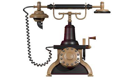 Vintage telephone. Retro old phone isolated on white background. 3d illustration Foto de archivo - 136853039