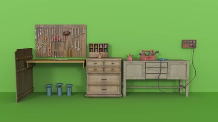 Vintage collection of car garage related tools. 3d illustration