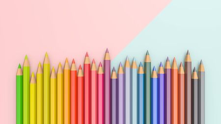 3D ILLUSTRATION. Color pencils isolated on white background.Close up.