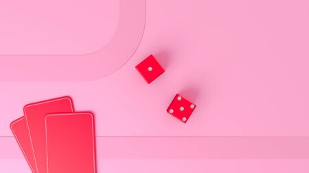 playing cards,dices and poker chips from above on pink poker table, 3d illustration.