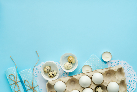 minimalism easter composition with free and copy space isolated on blue top view