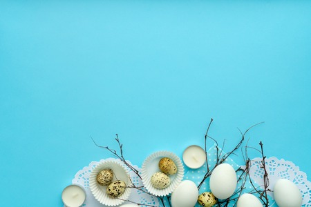 pastel blue easter composition with free space top view layout