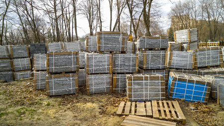 paving stones packed in stacks stored on ground outdoors Reklamní fotografie