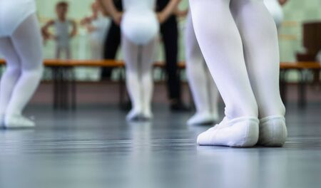 closeup legs of little ballerinas group in white shoes practicing in ballet studio. Young girls training elements of classical dance exercise. Childhood, dancing, lifestyle concept Zdjęcie Seryjne