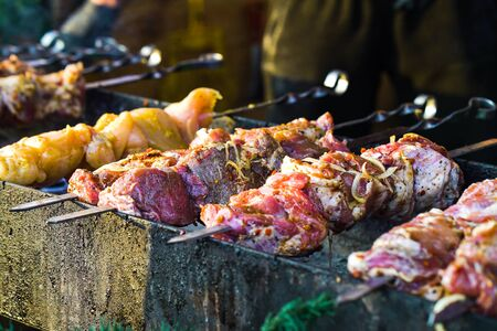 Roasting different kinds of meat on skewers on charcoal grill at street stand, selective focus. Closeup grilling pork and chicken at barbecue party. Concept of food