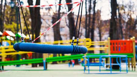 Nobody on kindergarten playground during covid pandemic