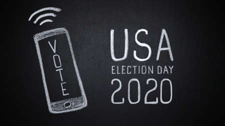 Hand drawn smartphone reminding of US elections in 2020 스톡 콘텐츠