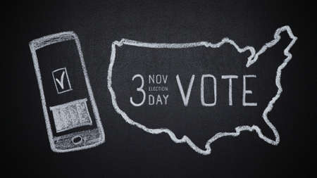 Smartphone with voting ballot and USA map with date of elections