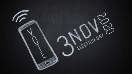 Hand drawn smartphone with vote word and date of US elections