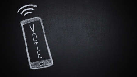 Stop motion of word vote appearing on smartphone screen hand drawn on chalkboard