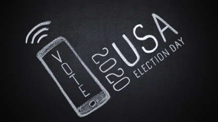 Stop motion of vote word on hand drawn smartphone at US election campaign 2020