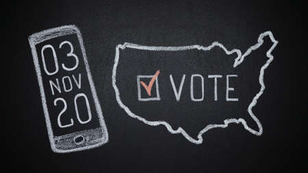 USA map on chalkboard with word vote and checkmark and date of elections