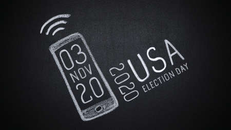 Date of presidential elections in USA appearing on smartphone