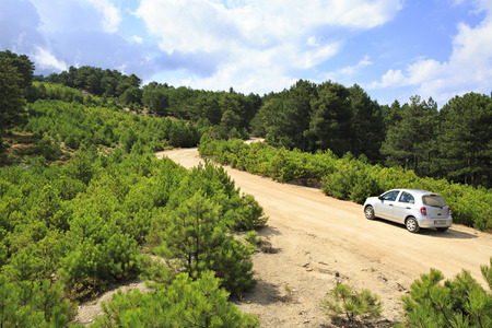sithonia: Car on a dirt road in the mountains. Sithonia peninsula in northern Greece.