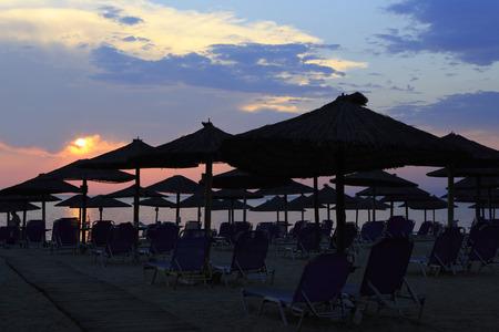sithonia: Tramonto sulla spiaggia. Porto Carras. Sithonia. Archivio Fotografico