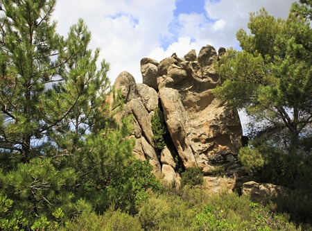 sithonia: Huge Stone feet in mountains. Sithonia peninsula in northern Greece. Stock Photo