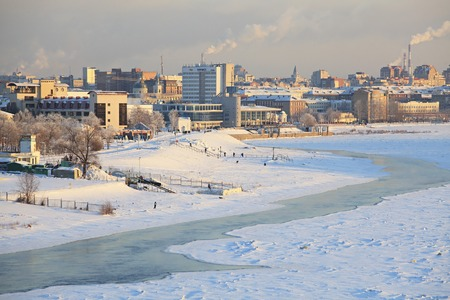 Winter cityscape on the Irtysh River. Center of Omsk. Russia.