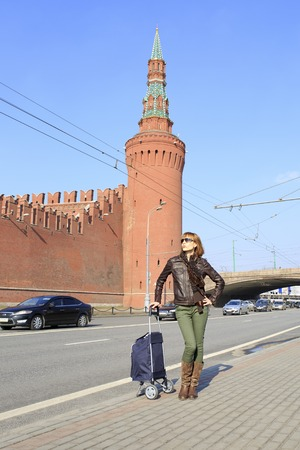 Beautiful young girl came to conquer Moscow.