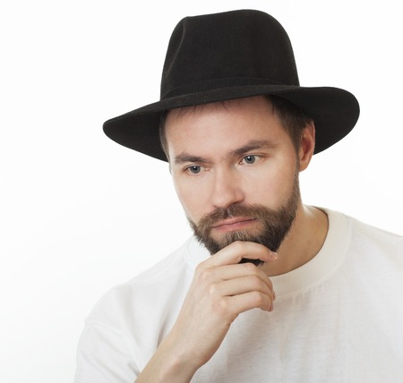 Man with a beard in the Jewish hat kneych. Stockfoto