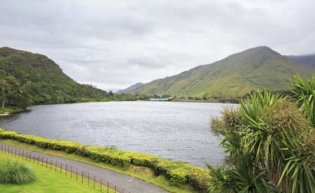 connemara: Beautiful lake near the Kylemore Abbey. National park Connemara in Ireland. Stock Photo