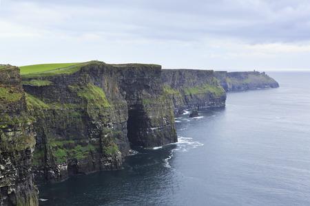 moher: Cliffs of Moher and Atlantic Ocean. Most famous landmark in Ireland.