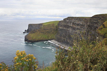 moher: Cliffs of Moher and Atlantic Ocean. Most famous landmark in Ireland.
