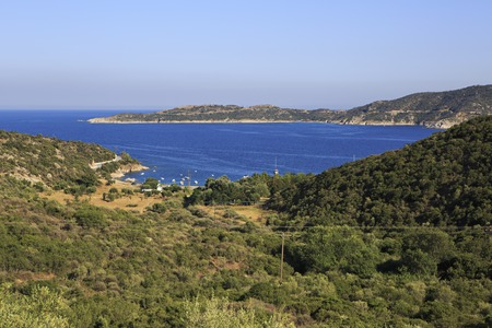 sithonia: View from the mountains of the bay of Aegean Sea. Sithonia peninsula in northern Greece.
