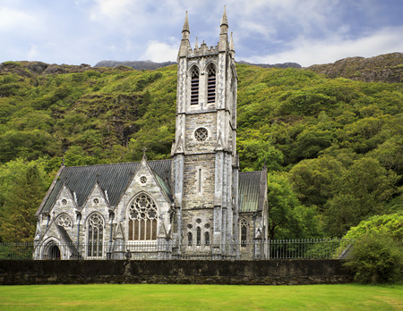 Cothic Church. Kylemore Abbey. National park Connemara in Ireland.