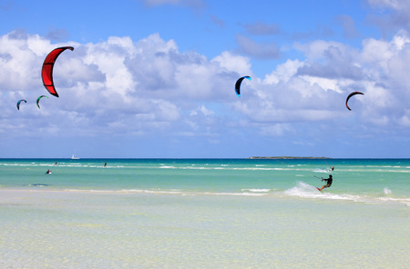 Kitesurfing on the coast of Cuba. Cayo Guillermo in Atlantic Ocean.