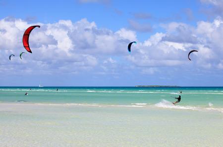 Kitesurfing on the coast of Cuba. Cayo Guillermo in Atlantic Ocean.