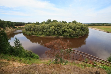 tara: Tara River near the village of Okunevo. Omsk Region. Russia. Stock Photo