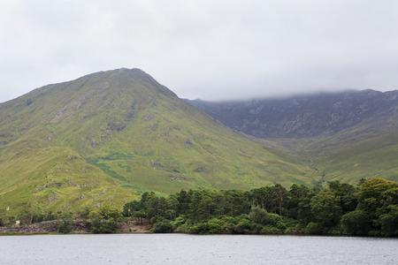 connemara: Mount and lake near the Kylemore Abbey. National park Connemara in Ireland. Stock Photo