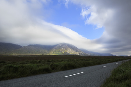 connemara: Road in the National park Connemara. County Galway in Ireland. Stock Photo