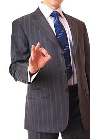 consent: Businessman shows the gesture of consent. Stock Photo