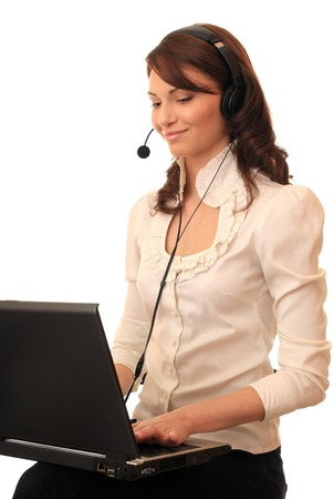 hot secretary: Beautiful girl with a notebook in headsets with a microphone.