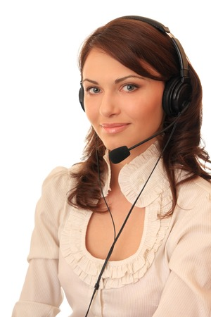 hot secretary: Beautiful girl in headsets with a microphone. Stock Photo