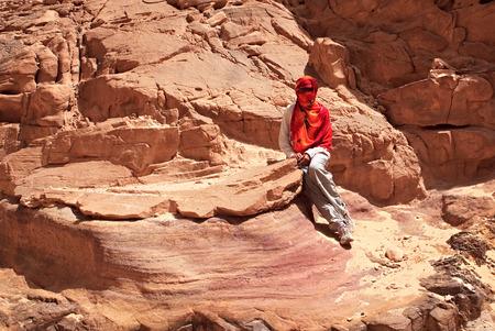sinai: Tourist in the Colored Canyon. Mountains of Sinai. Egypt.