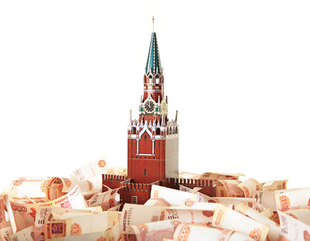 Model of the Moscow Kremlin in the background of five thousandth notes Stock Photo