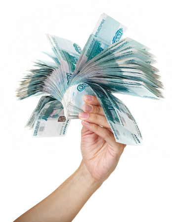 thousandth: Stack of one thousandth bills in the female hand. Stock Photo