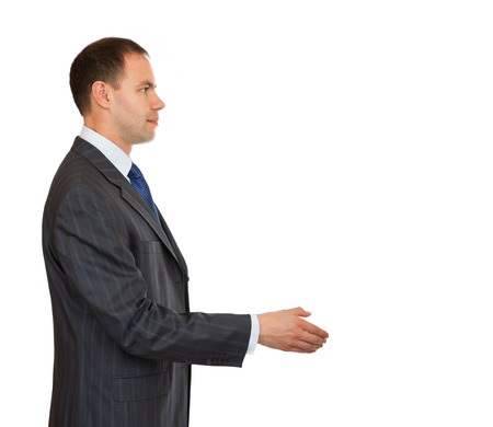 manos estrechadas: Hombre de negocios del apret�n de manos. Hombre de negocios saludo. Fondo aislado.
