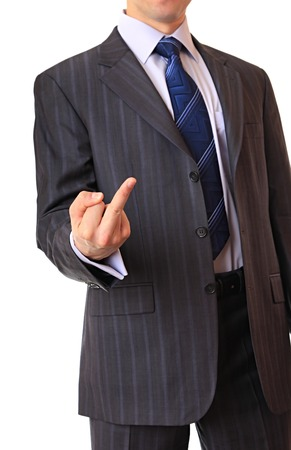 insult: A businessman shows the gesture of insult.