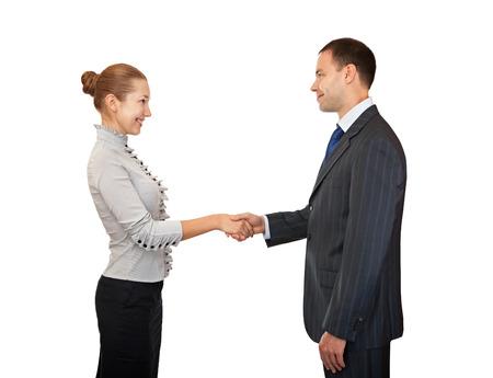 handshakes: Handshake man and women. Greeting business people. Stock Photo
